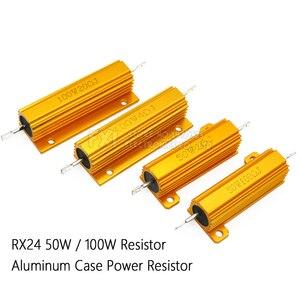 Image 1 - 50W 100W Aluminum Power Metal Shell Case Wirewound Resistor 0.01R ~ 100K 1 6 8 10 20 200 500 1K 10K ohm resistance RX24 Igmopnrq