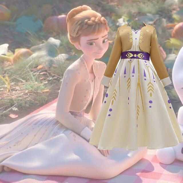 2020 חג המולד קפוא 2 מלכת אנה שמלת קוספליי תלבושות עבור ילד בנות מסיבת נסיכת Vestidos ילד בגדי שמלת 3 12 שנה