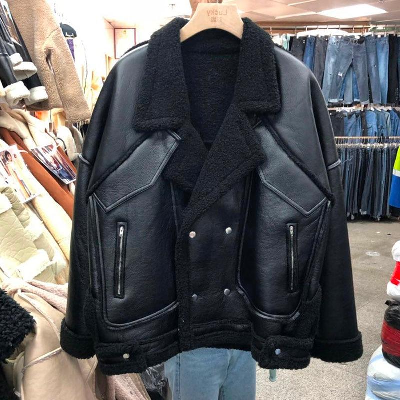 2019 Winter   Suede   Biker Faux   Leather   Jacket Women outwear Thicken Faux Lambs Wool Coat Loose Shearling Short Coats Female PY65