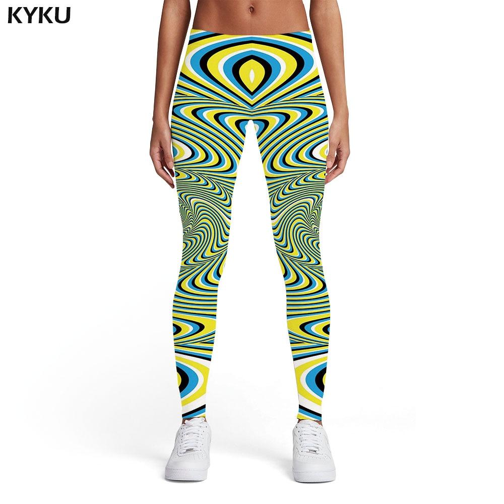 KYKU Psychedelic Leggings Women Dizziness Printed Pants Gothic Leggins Abstract Sexy Harajuku Spandex Womens Leggings Pants
