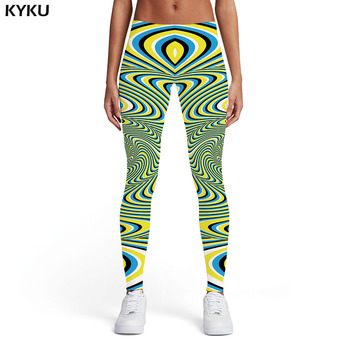 KYKU Psychedelic Leggings Women Dizziness Printed pants Gothic Leggins Abstract Sexy Harajuku Spandex Womens Leggings Pants kyku psychedelic leggings women fireworks 3d print space sexy colorful printed pants gothic sport womens leggings pants