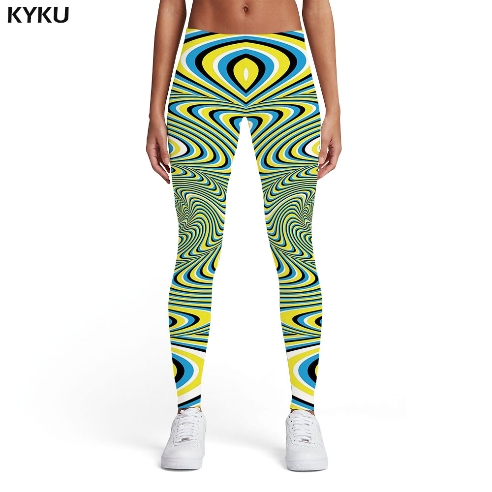 KYKU Psychedelic   Leggings   Women Dizziness Printed pants Gothic Leggins Abstract Sexy Harajuku Spandex Womens   Leggings   Pants