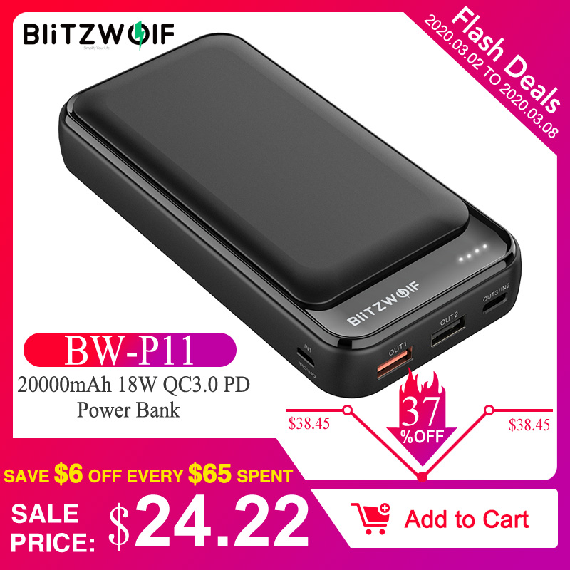 BlitzWolf BW-P11 20000 мАч 18 Вт QC3.0 PD внешний аккумулятор для iPhone 11 Pro X для samsung S9 S10 для Xiaomi huawei мобильный внешний аккумулятор