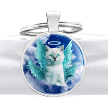 Classic Fashion Angel Cat Glass Dome Key Chain Charm Men Women Jewelry Key Rings 50pcs zinc alloy plating silver angel girl charm rotating lobster keychain key chain fit fashion jewelry findings for women f551