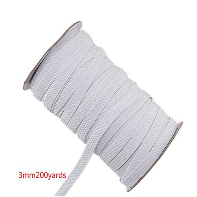 3UM 100/200 Yards Elastic Band Flat Rubber Stretch Rope DIY Face Mouth Mask Crafts Y1QB