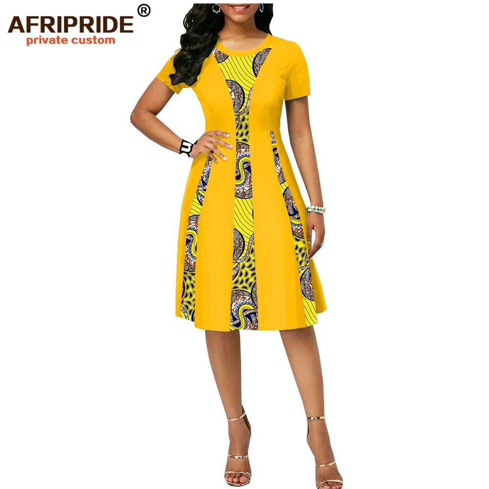 2019 summer african print dress for women AFRIPRIDE tailor made short sleeve knee length women casual wax cotton dress A1825087