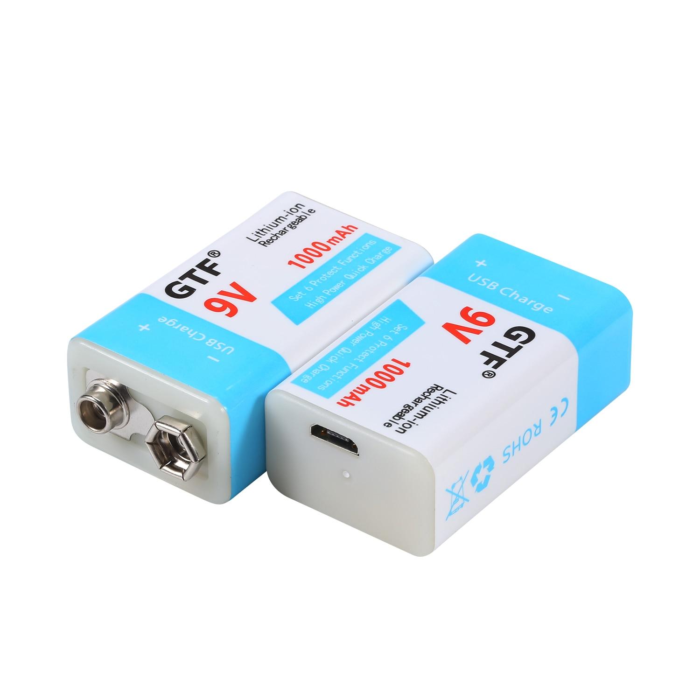 Аккумуляторная батарея GTF 9 в 1000 мАч, литий-ионная аккумуляторная батарея Micro 9 в USB для мультиметра, микрофона, игрушки, пульта дистанционного...