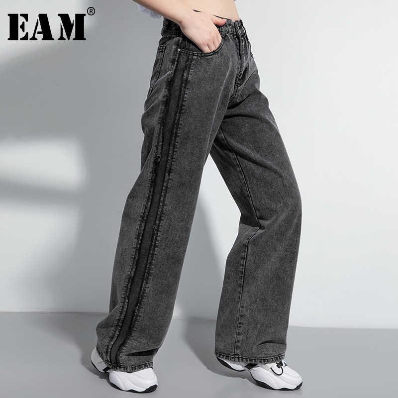 Женские джинсы с высокой талией EAM, черные длинные свободные джинсы с высокой талией, на весну и осень, 2020, 1U034