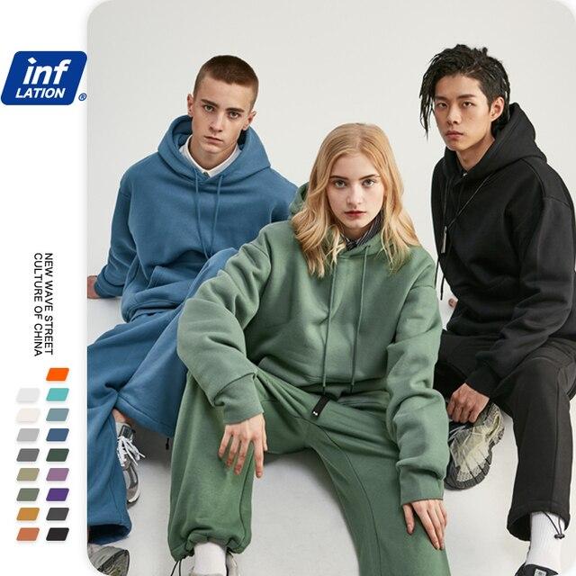 INFLATION 2021 Autumn Mens Thick Fleece Hoodies Hip Hop Pure Hoodies Thick Velvet Fabrics Winter Hoodies 167W17 2