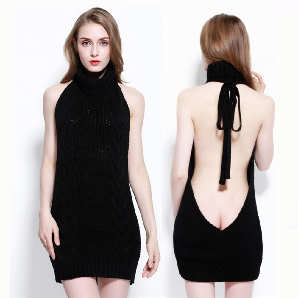 Fashion Virgin Killer Sweater Women Korean Off Shoulder Knitting Women Sweater Turtleneck Backless Sexy Pullovers Warm Sweater