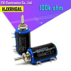 2 шт. WXD3-13-2W 100K Ом WXD3-13 2 Вт Поворотный многооборотный потенциометр с проволочной обмоткой
