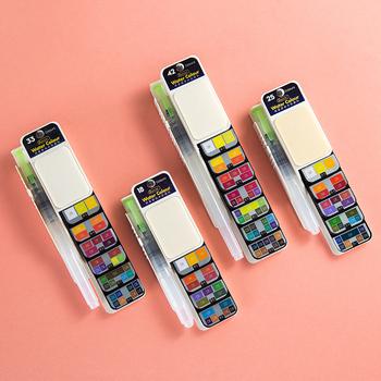 Superior Fast Delivery 18 25 33 42 kolory solidny zestaw akwareli z pędzel wodny Pigment akwarela do rysowania dostaw sztuki tanie i dobre opinie CN (pochodzenie) 3 lata 8 ml Solid Watercolor Paint Wodne farby w różnych kolorach Papier 24-48hours 15-35days 0 2Kg