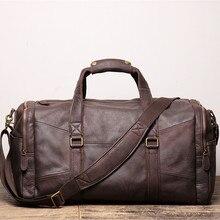 Nesitu Highend New Large Big Vintage Brown Coffee Genuine Leather Business Men Travel Bags Shoulder Messenger Duffle Bag M9029
