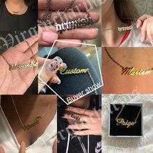 Collares de nombre personalizado para mujer y hombre, cadena de acero inoxidable de Color dorado y plateado, colgante con placa con nombre, joyería