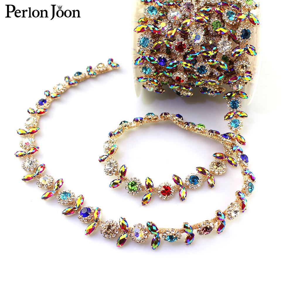 1 yard mixed color AB color rhinestone trim flower crystal metal chain women clothing decorative shoes Accessories ML058