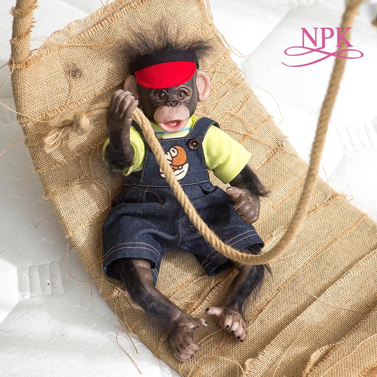 NPK Original 40CM Handgemachte Detaillierte Malerei Reborn Premie Baby Orang-utans Schwarz Affe Zum Sammeln Kunst hohe qualität puppe