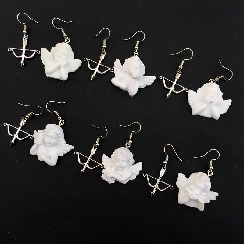 1 זוג בעבודת יד קופידון חץ וקשת מלאך רטרו זרוק אסימטרית עגילים מצחיקים עבור מגניב נשים ידידות ילדה מתנות עגילי אופנה