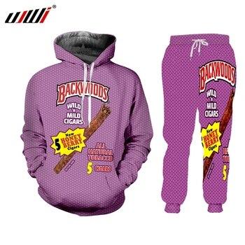 UJWI 3D Print cuff Hoodies Streetwear purple Backwoods Hoodie Sweatshirt Men Fashion autumn winter Hip Hop hoodie pullover 2020 new men 3d hoodie animal full print hooded pullover hip hop men tiger print men hoodie sweatshirt