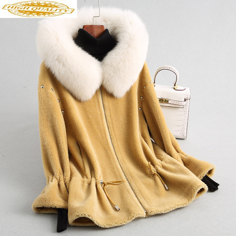 2020 Women Real Wool Jacket Sheep Shearing Coats Warm Winter Fur Coat Female Natural Fox Fur Collar Hooded 18170 WYQ2014