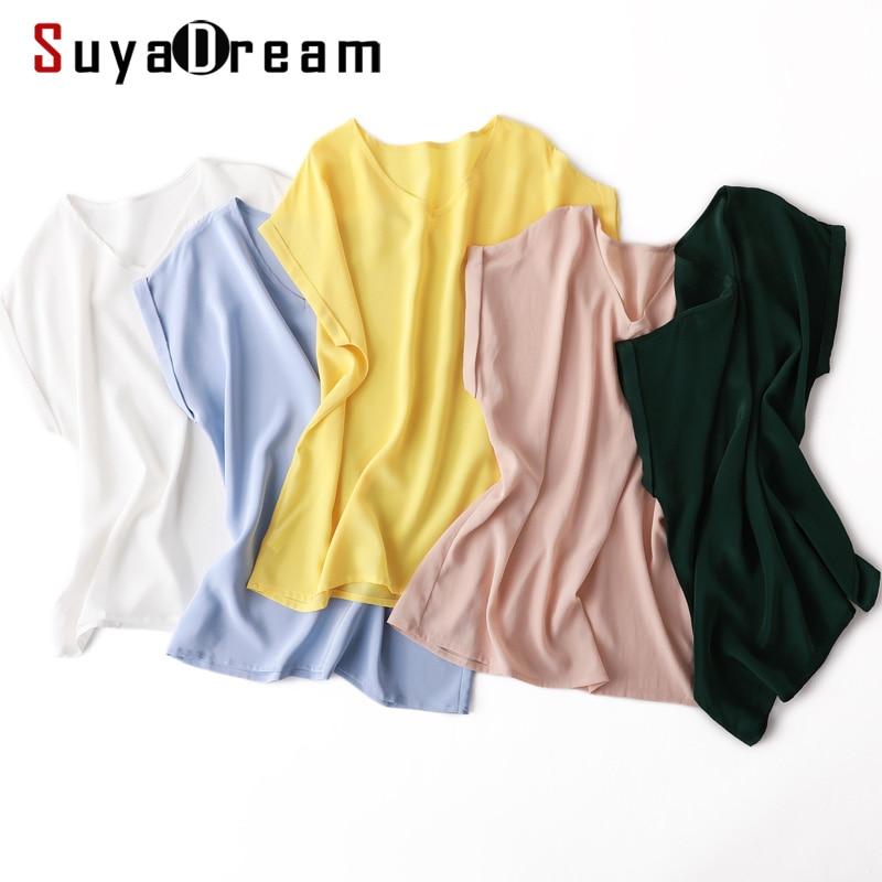 SuyaDream Women Silk Blouse 100%Real Silk Solid Short Sleeved V Neck Blouses 2020 Spring Summer Shirt