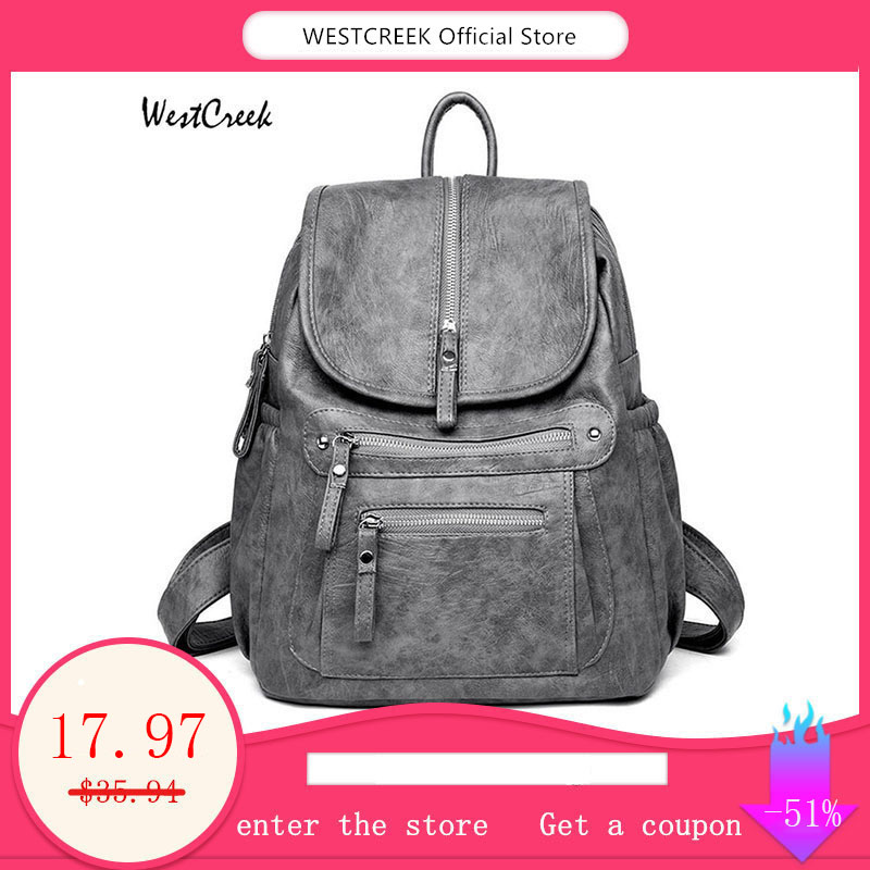 WESTCREEK Brand Women Backpack High Quality Leather Fashion School Backpacks Female Feminine Casual Large Capacity