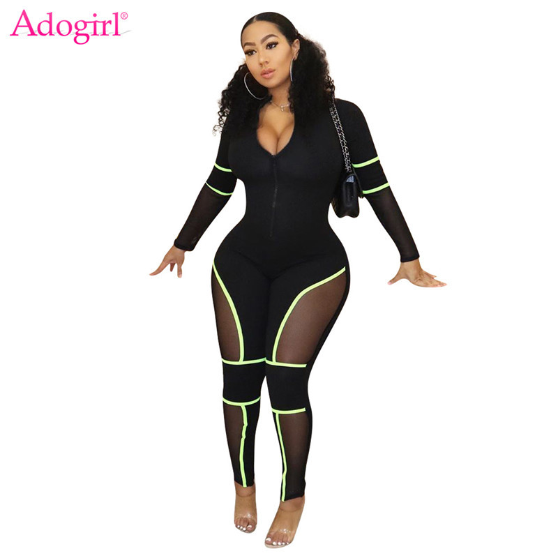 Adogirl Sheer Mesh Patchwork Bandage   Jumpsuit   Zipper Front V Neck Long Sleeve Women Sexy Romper Tracksuit Night Club Overalls