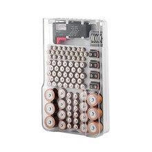 פלסטיק 93 רשת סוללה קיבולת בודק אחסון תיבת שקוף מדידת ארגונית מקרה עבור AAA AA 9V C D סוללות אבזרים