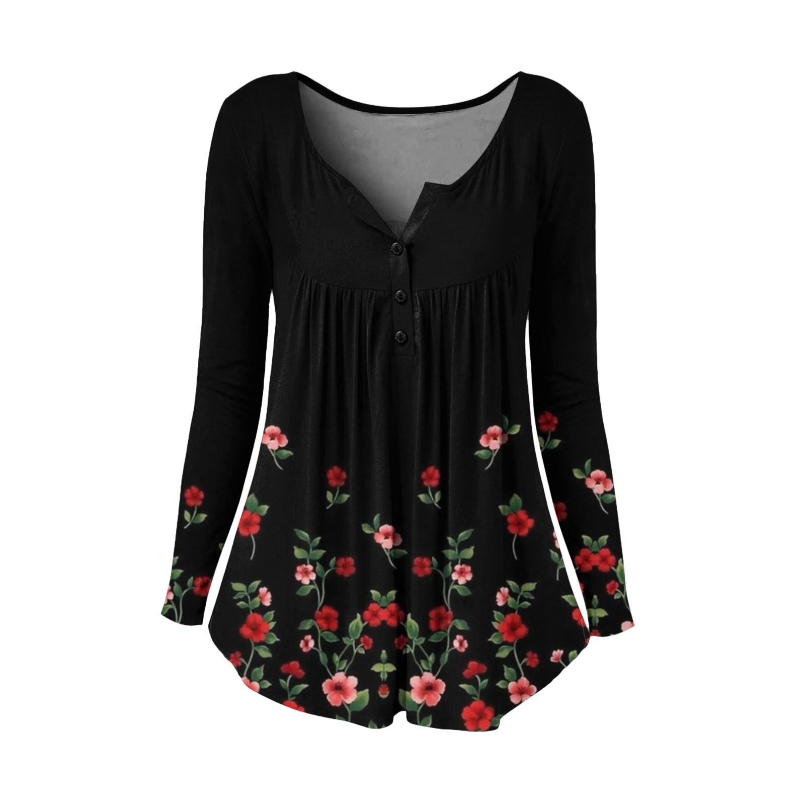 Vintage Pleated Blouse Shirt Loose Flower Print Blouse Tops Round Neck Long-sleeve Top Cotton Shirt Autumn Streetwear Рубашка C8