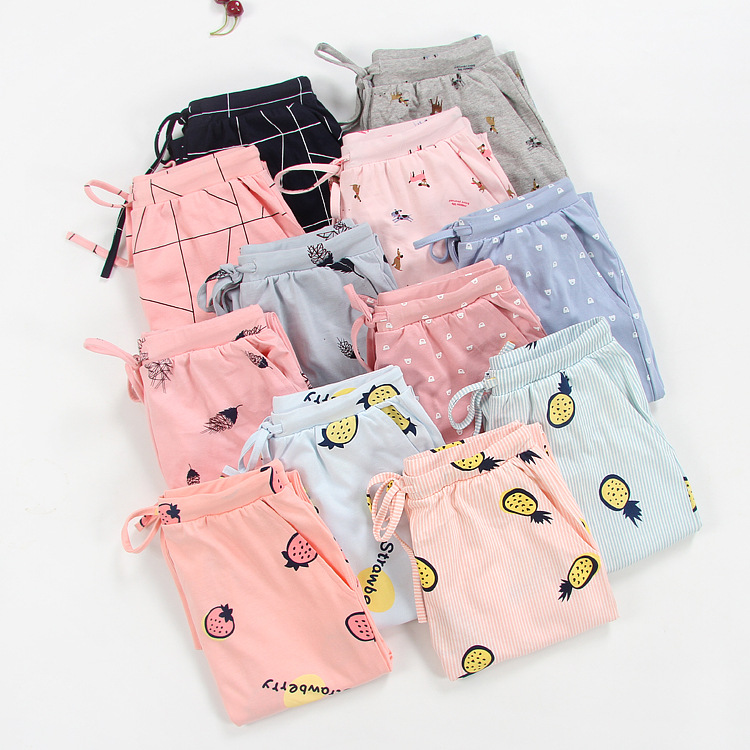 Pure Cotton Pajamas Women's Spring And Autumn Common Style Sweet Cute Cartoon Cotton Knitted Casual Large Size Home Trousers