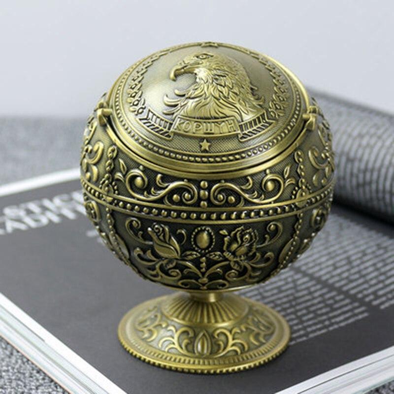 High Quality European Antique Globe Type Ashtray Eagle Figure Tin Alloy Home Office Decoration