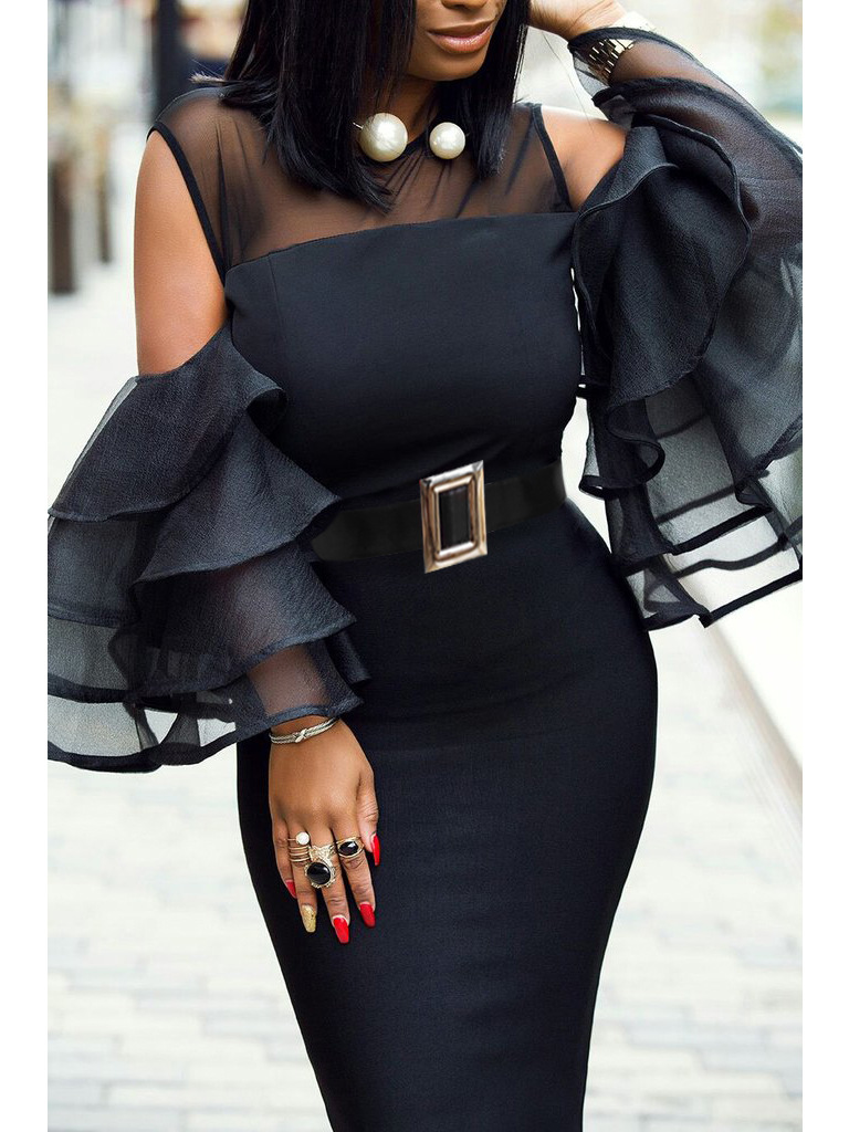 Plus Size African Dresses For Women Sexy Ruffles Sleeve African Clothing Party Elegant Africa Dress Robe Africaine Femme 2019
