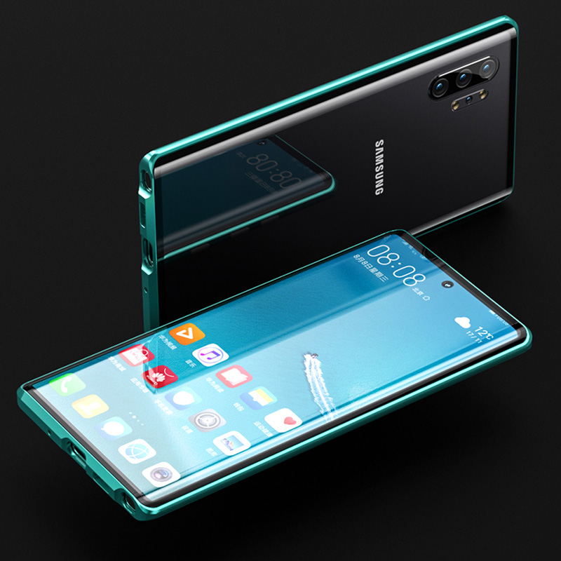 For Samsung Note 10 Plus A7 A9 2018 A10 A20 Case Metal Frame Double Side Tempered Glass Cover for Galaxy S8 S9 S10 Plus Note 8 9