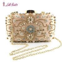 New Elegant Women Evening Bag Hand Beaded Luxury Clutches Vintage Pattern Crystal Purses Bridal Wedding Party Wallet