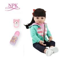 Npk bebes reborn doll 47 cm 실리콘 인형 소녀 reborn baby doll 장난감 lifelike 신생아 공주 victoria bonecas menina for kids