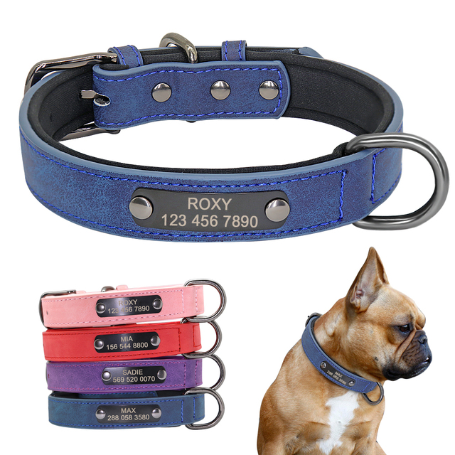 Custom Dog Collar Personalized Small Dogs Leather Collar Engraved Puppy Pet ID Tag Collars Pet Products For French Bulldog Pug