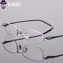 Titanium Semi-Rimless Design Glasses Frame For Men Myopia Eyewear oculos de grau