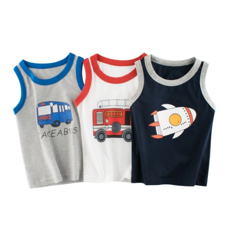 2-7Y Baby Kids Boys Vests T-shirts Children Summer Vest Top Outfit Kid Boy Girl Solid Tops Clothes Cotton Tees