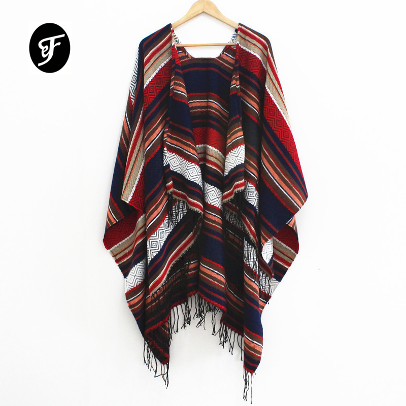 Women Striped Tassels Poncho   Scarf   And   Wraps   Thickening Cashmere Autumn And Winter National Patten Shawl Capes Cloak