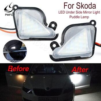PMFC LED Under Side Mirror Light P Lamp uddle Lamp 2 pieces 6000K White for skoda Octavia Mk3 5E 2012-2017 Superb 2 Octavia 3