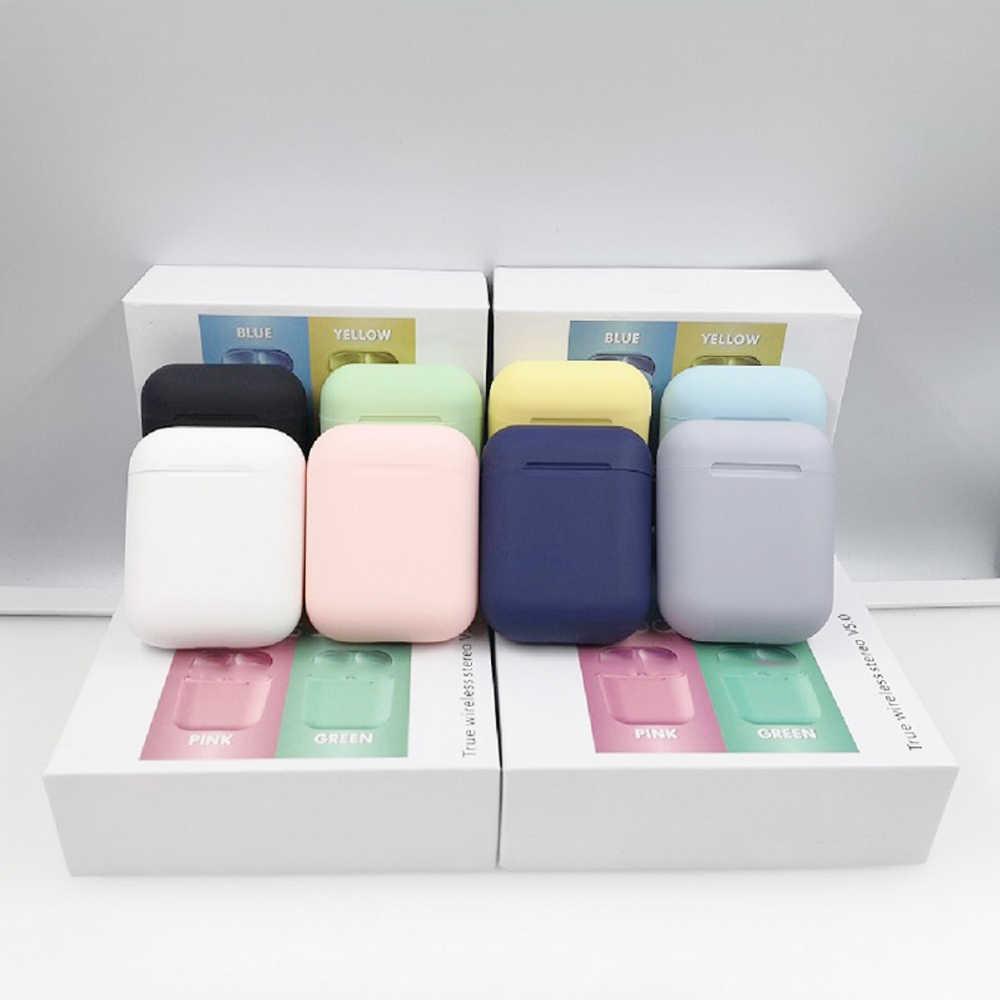 Macaron i12 tws bezprzewodowe słuchawki bluetooth 5.0 słuchawki zestaw słuchawkowy oryginalny dotykowy pop-up prawdziwe słuchawki stereo słuchawka na telefon