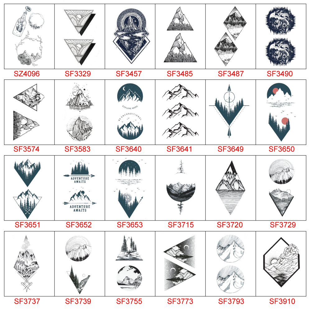 Mountain Tattoo Sticker Waterproof Temporary Fake Tattoo Stickers Mountain Design Body Art Make Up Tools  For Girl Women