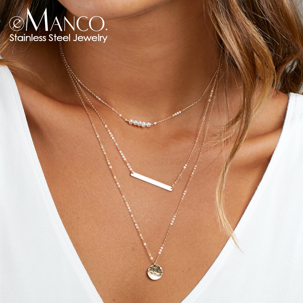 eManco Trendy Multi Layered Pendant Necklace Real 316L Stainless Steel Necklace for women 3pcs necklace Jewelry