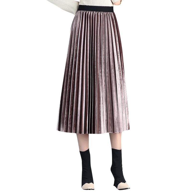2019 новые плиссированные юбки Женская весенне осенняя длинная юбка с высокой талией женские плиссированные юбки одежда для отдыха хорошее к