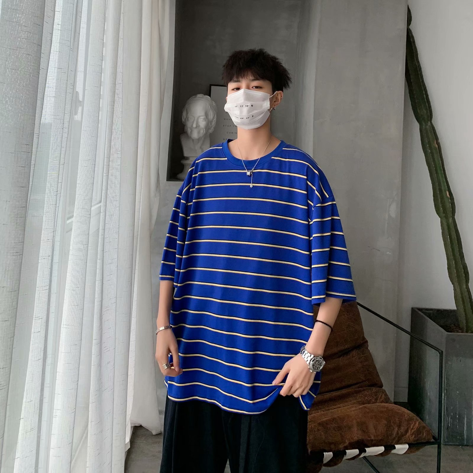 2020 New Hit Color <font><b>Korean</b></font> <font><b>Style</b></font> Cotton T <font><b>Shirt</b></font> Hip Pop Round Neck Tshirt Boyfriend Gift <font><b>Oversize</b></font> Striped T-<font><b>shirt</b></font> <font><b>Men</b></font> Short 2XL image
