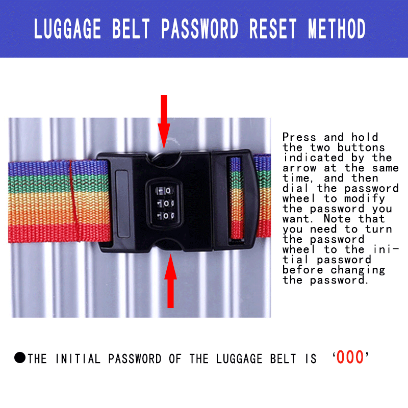 Practical Travel Luggage Luggage Backpack Safety Belt Security Password Lock 3-digit Password Travel Bag Luggage Belt
