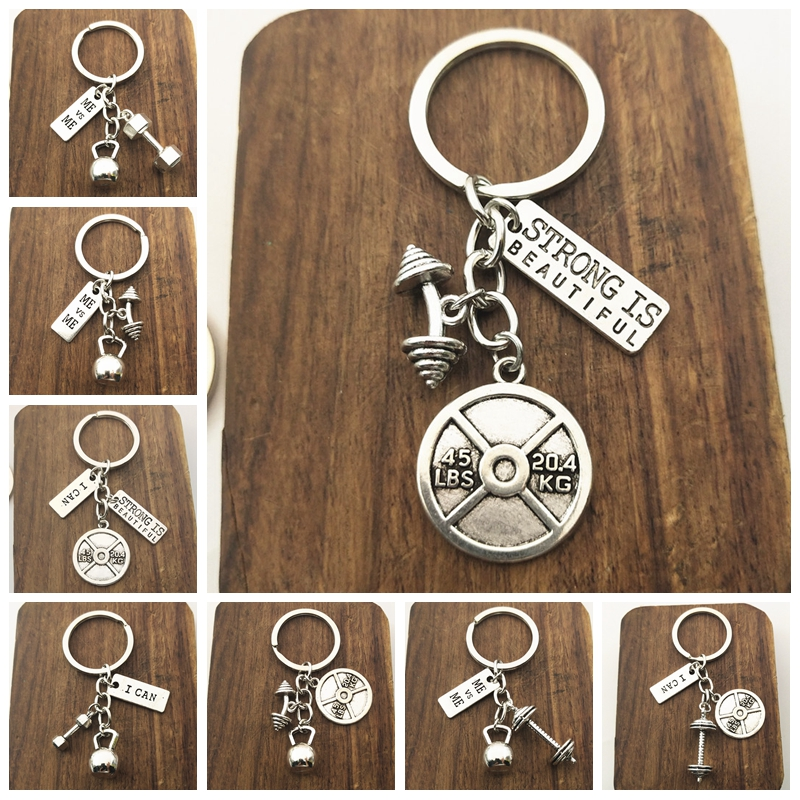 1pcs Strength Sports Barbell Dumbbell Charm Weight Fitness With Words Gym Crossfit Gifts Keyring Keychain Car Key Rings Keyring