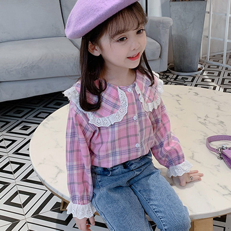 Spring Autumn Newborn Infant Baby Girls Shirt Lace Plaid Cotton Blouse Cute Long Sleeve Girl Top Toddle Clothes 1-12M 1-2Y