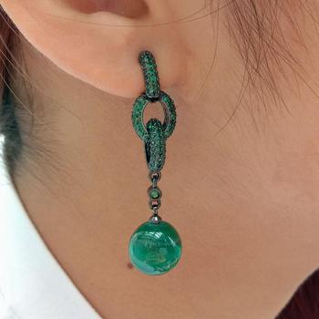 Natural genuino redondo verde malaquita verde zirconia cúbica pavé color bronce plateado bucle Stud pendientes de lujo para las mujeres