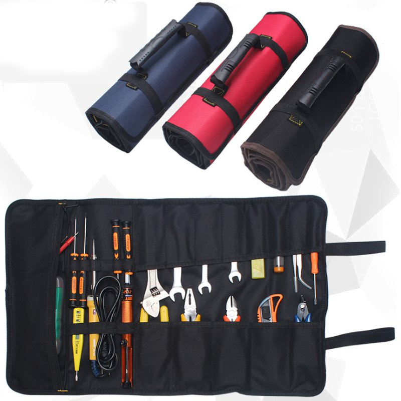Durable Red/Blue/BrownMultifunction Oxford Cloth Folding Wrench Bag Roll Storage Pocket Pouch Portable Case Organizer Holder
