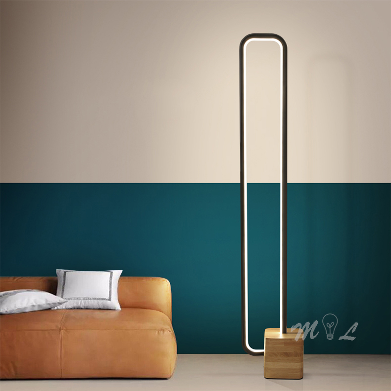 Nordic Modern Floor Lamp For Living Room Wood Standing Lamp 18W Led Remote Control Dimmable Light Stand Bedroom Light Fixtures